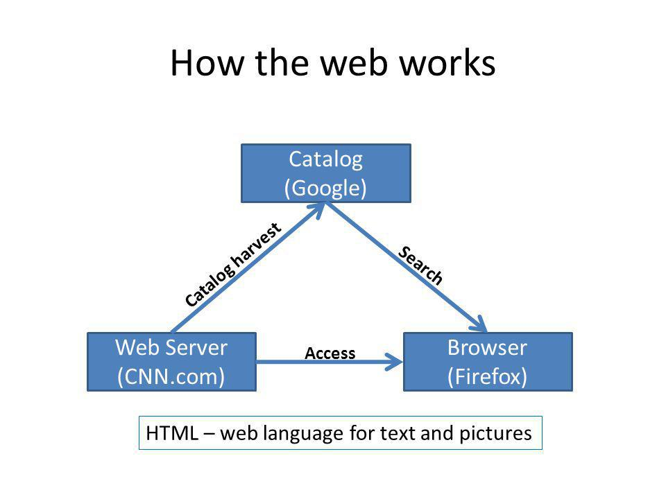Catalog (Google) Web Server (CNN.com) Browser (Firefox) Access Catalog harvest Search How the web works HTML – web language for text and pictures