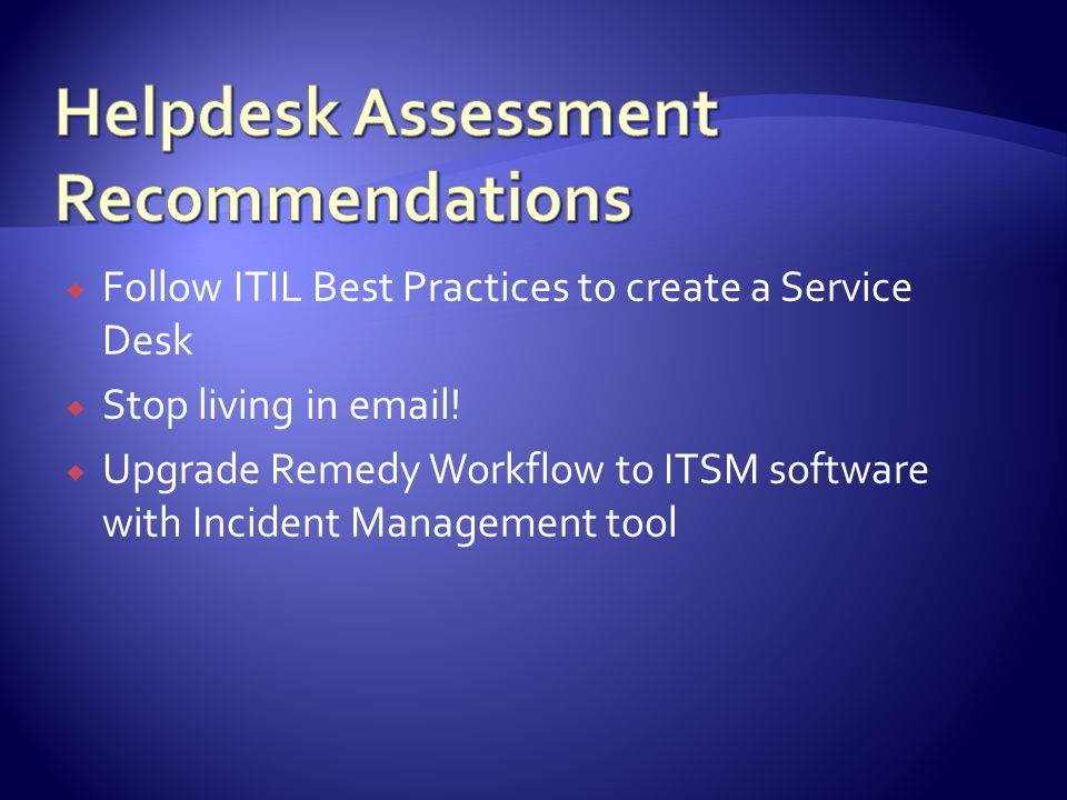 Follow ITIL Best Practices to create a Service Desk Stop living in email.