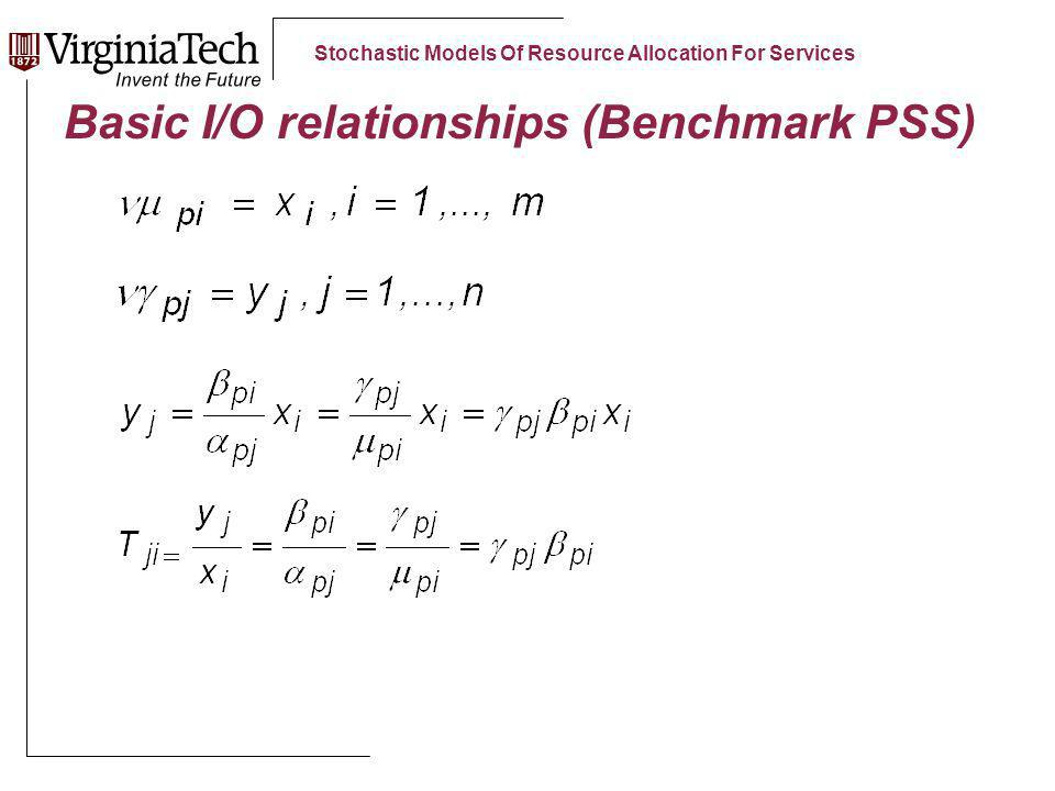 Stochastic Models Of Resource Allocation For Services Basic I/O relationships (Benchmark PSS)