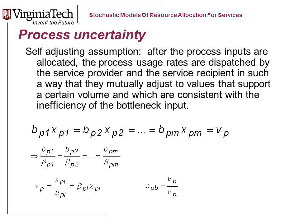 Stochastic Models Of Resource Allocation For Services Process uncertainty Self adjusting assumption: after the process inputs are allocated, the process usage rates are dispatched by the service provider and the service recipient in such a way that they mutually adjust to values that support a certain volume and which are consistent with the inefficiency of the bottleneck input.