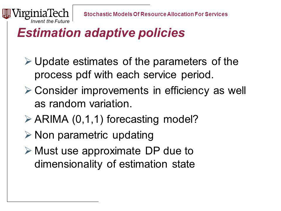 Stochastic Models Of Resource Allocation For Services Estimation adaptive policies Update estimates of the parameters of the process pdf with each service period.