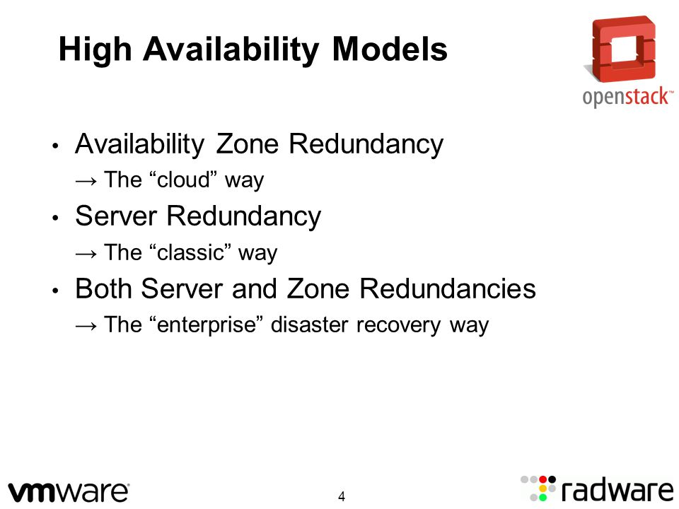 High Availability Models Availability Zone Redundancy The cloud way Server Redundancy The classic way Both Server and Zone Redundancies The enterprise disaster recovery way 4
