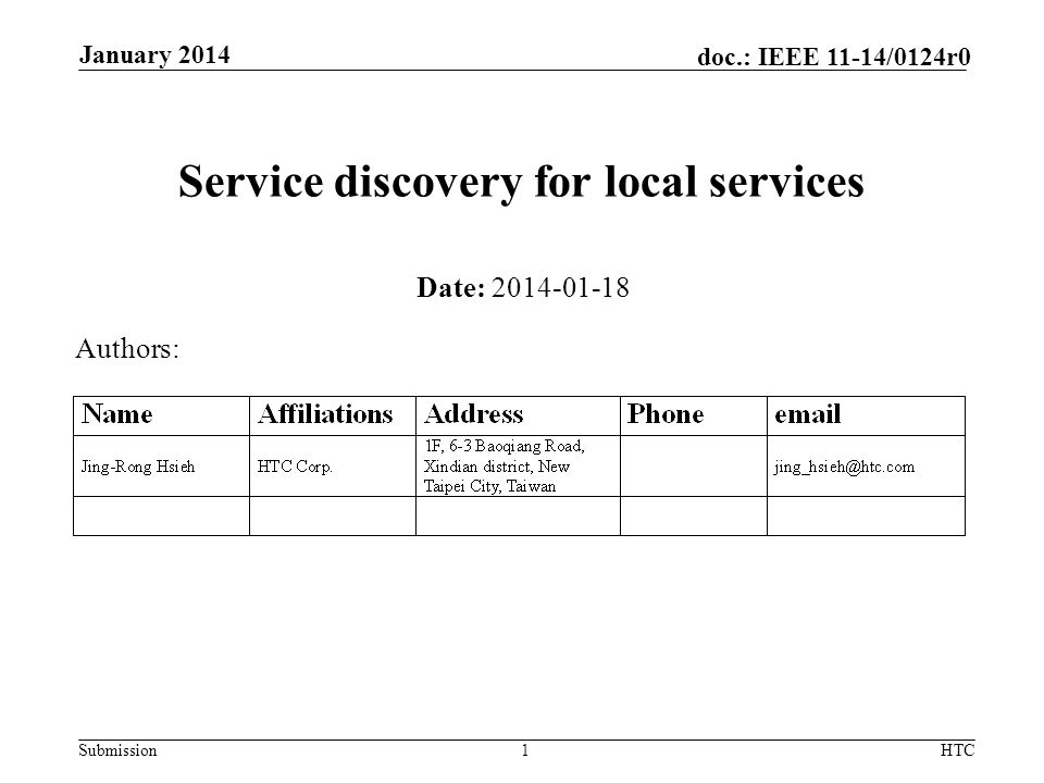 Submission doc.: IEEE 11-14/0124r0 Service discovery for local services Date: 2014-01-18 Authors: January 2014 HTC1