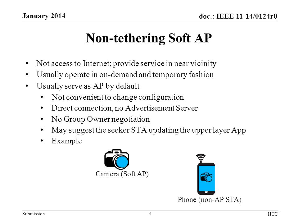 Submission doc.: IEEE 11-14/0124r0 Non-tethering Soft AP Not access to Internet; provide service in near vicinity Usually operate in on-demand and temporary fashion Usually serve as AP by default Not convenient to change configuration Direct connection, no Advertisement Server No Group Owner negotiation May suggest the seeker STA updating the upper layer App Example 3 January 2014 HTC Camera (Soft AP) Phone (non-AP STA)