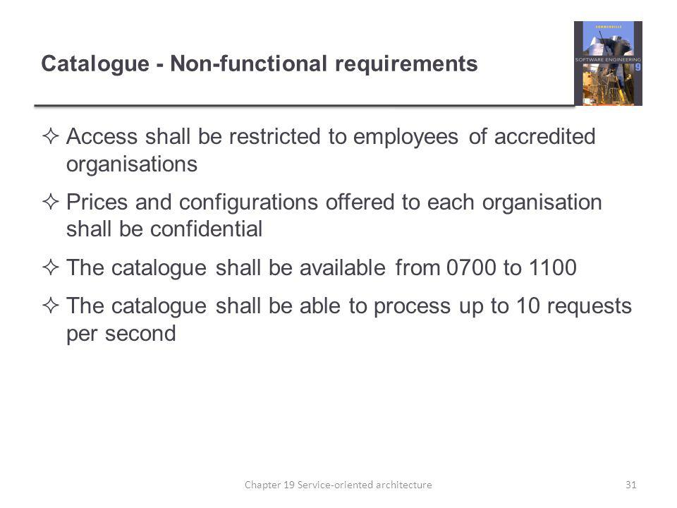 Catalogue - Non-functional requirements Access shall be restricted to employees of accredited organisations Prices and configurations offered to each