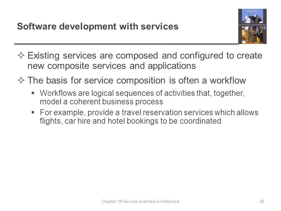 Software development with services Existing services are composed and configured to create new composite services and applications The basis for servi