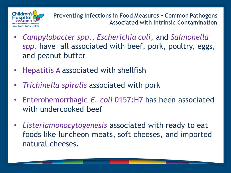 Preventing Infections in Food Measures - Common Pathogens Associated with Intrinsic Contamination Campylobacter spp., Escherichia coli, and Salmonella spp.