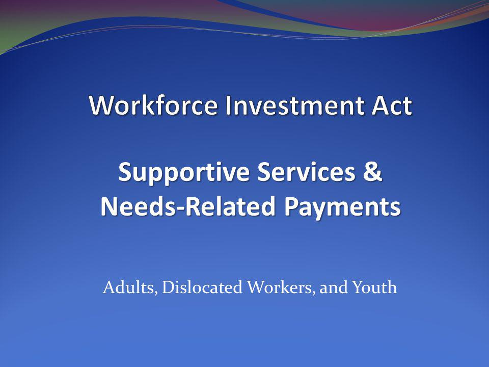 Adults, Dislocated Workers, and Youth Supportive Services & Needs-Related Payments
