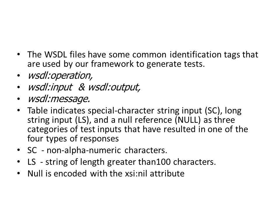 The WSDL files have some common identification tags that are used by our framework to generate tests. wsdl:operation, wsdl:input & wsdl:output, wsdl:m