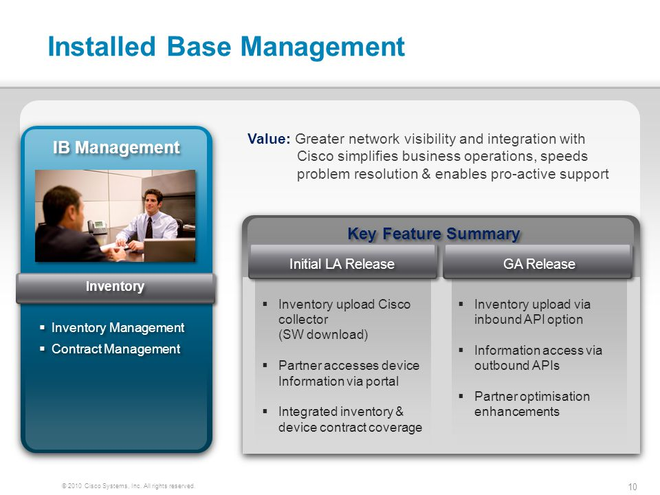 10 © 2010 Cisco Systems, Inc. All rights reserved. Installed Base Management IB Management Inventory Management Contract Management Inventory Manageme