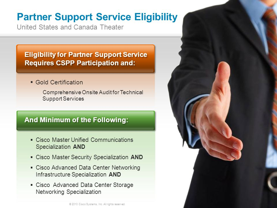 © 2010 Cisco Systems, Inc. All rights reserved. 18 Partner Support Service Eligibility United States and Canada Theater Eligibility for Partner Suppor