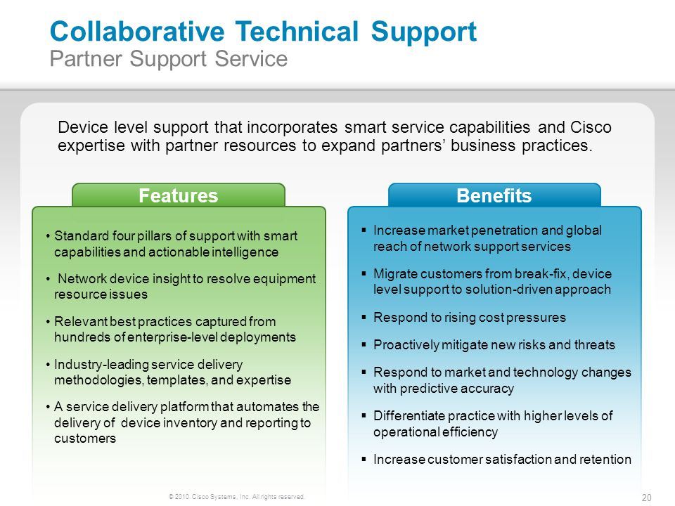 © 2010 Cisco Systems, Inc. All rights reserved. 20 FeaturesBenefits Collaborative Technical Support Partner Support Service Standard four pillars of s