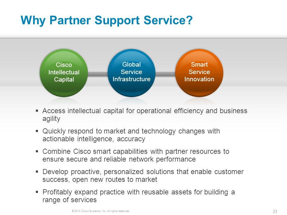 © 2010 Cisco Systems, Inc. All rights reserved. 23 Why Partner Support Service? Access intellectual capital for operational efficiency and business ag