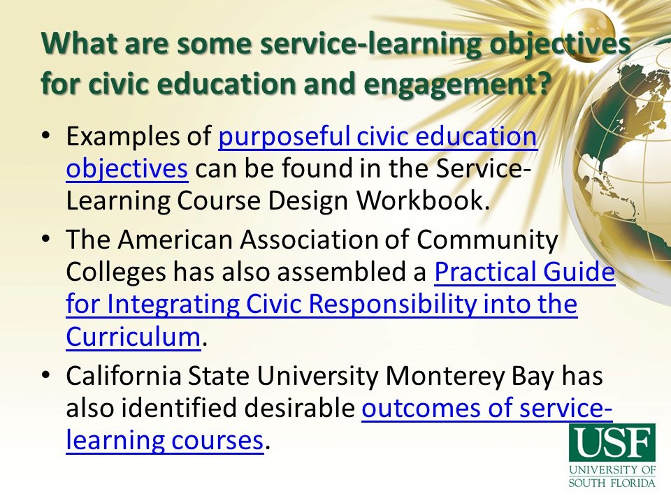 What are some service-learning objectives for civic education and engagement? Examples of purposeful civic education objectives can be found in the Se