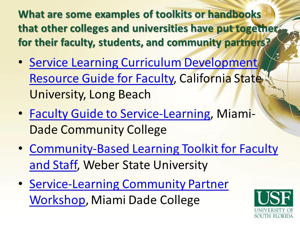 What are some examples of toolkits or handbooks that other colleges and universities have put together for their faculty, students, and community part