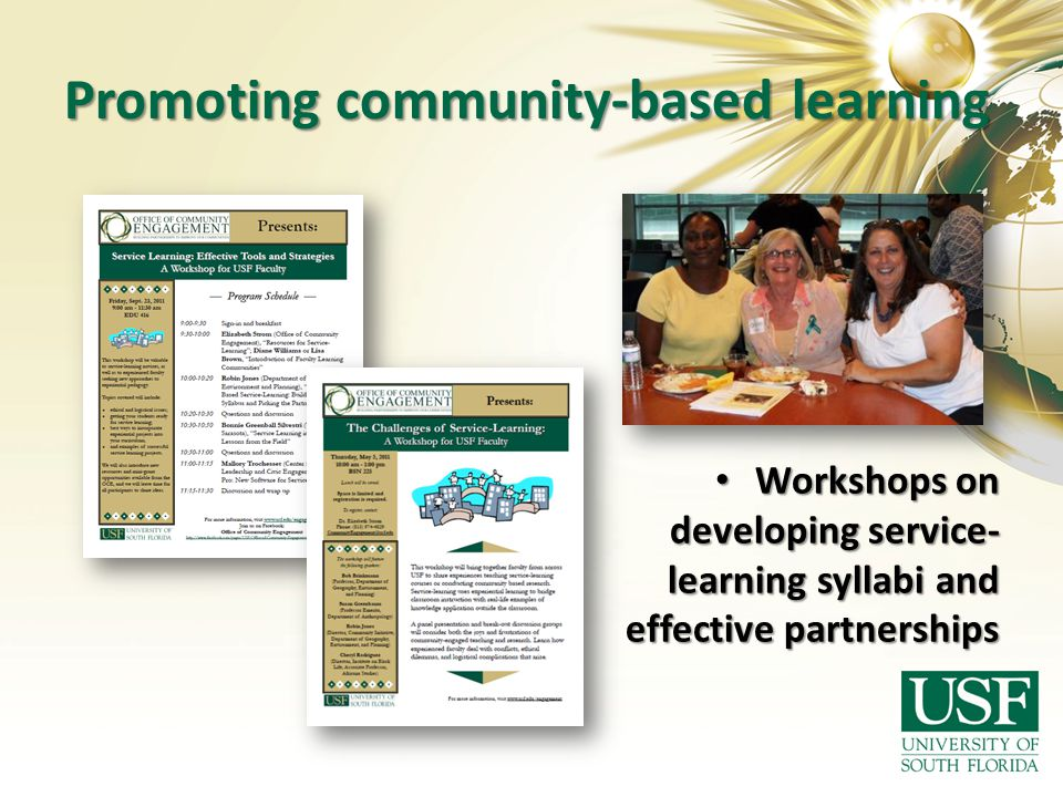 Promoting community-based learning Workshops on developing service- learning syllabi and effective partnerships Workshops on developing service- learn
