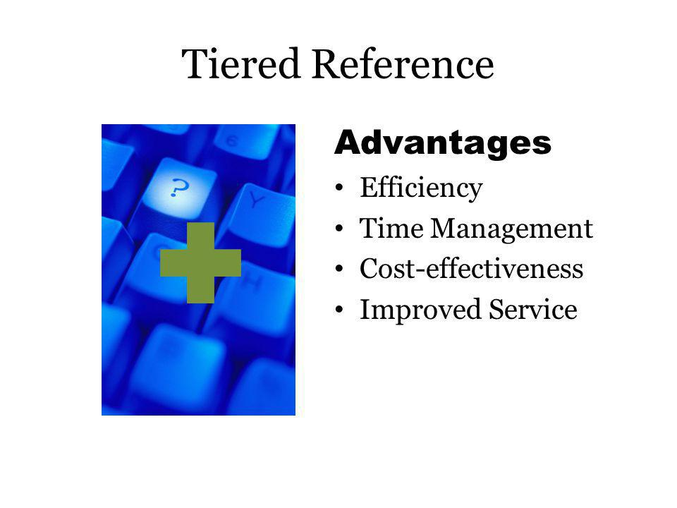 Tiered Reference Disadvantages : Decreased visibility Reliability of answers Librarian preference