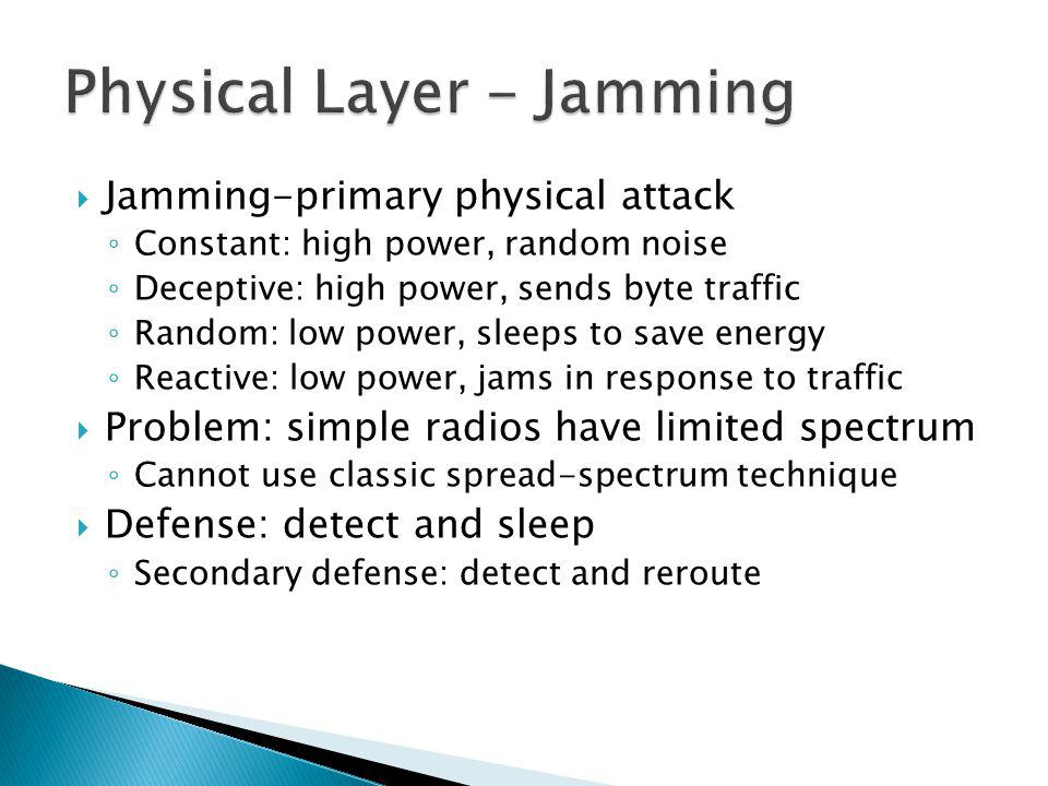 Jamming-primary physical attack Constant: high power, random noise Deceptive: high power, sends byte traffic Random: low power, sleeps to save energy Reactive: low power, jams in response to traffic Problem: simple radios have limited spectrum Cannot use classic spread-spectrum technique Defense: detect and sleep Secondary defense: detect and reroute
