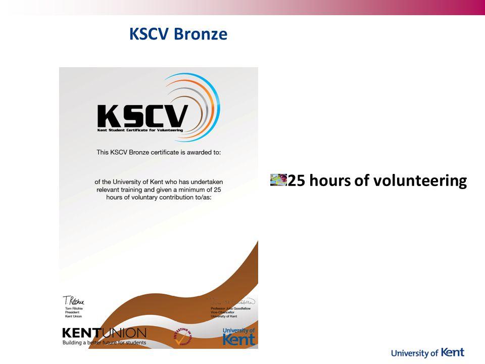 KSCV Bronze 25 hours of volunteering