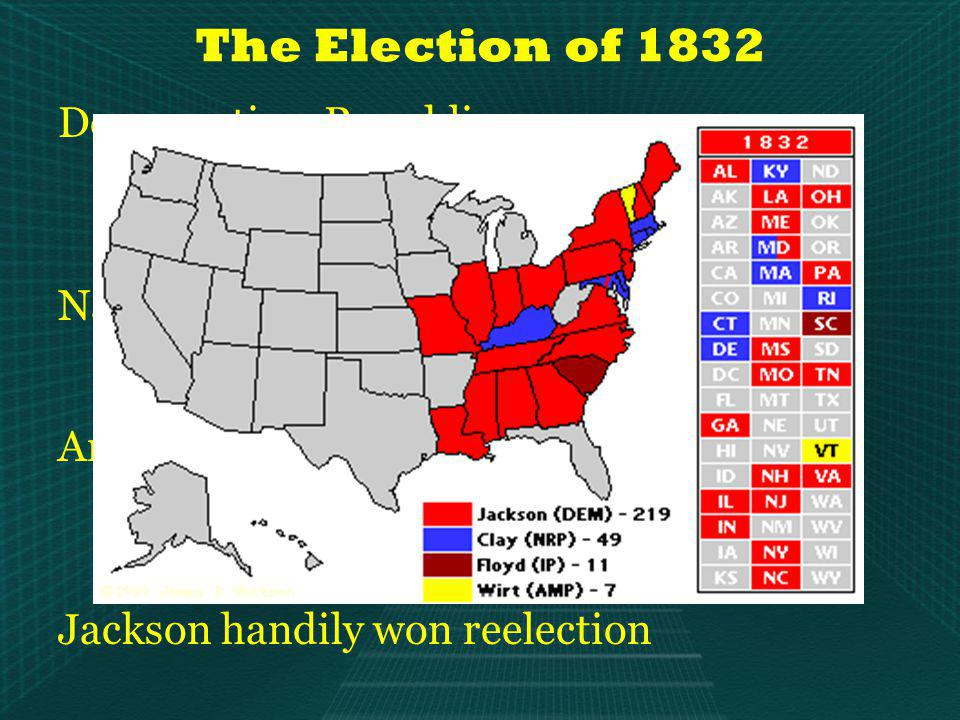 The Election of 1832 Democratic – Republicans Drop Republican – become simply Democrats Re-nominate Jackson No platform, run on hoopla and Jacksons popularity Nationalist-Republicans Nominate Henry Clay Endorse the American System Anti-Masonic Party First third party in U.S.
