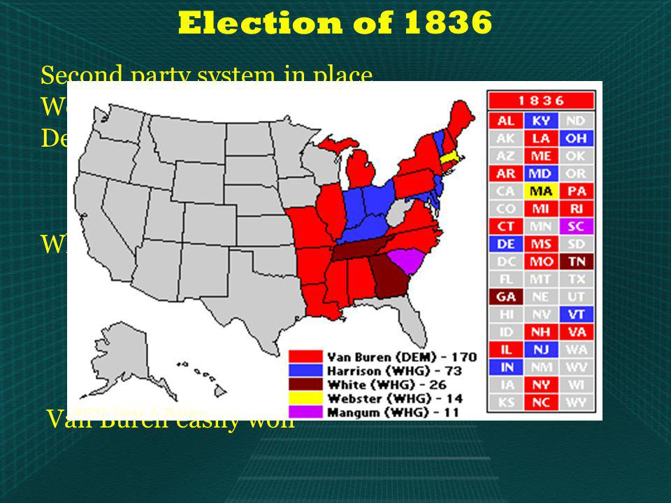 Election of 1836 Second party system in place Would remain stable for about 20 years Democrats In place since 1832 (with roots back to Jefferson in 1803) Nominate Martin Van Buren (Jacksons V.P.) Whig coalition United by hostility to Jackson National – Republican core Remnants of Anti-Masonic Party Democrats unhappy w/ Jackson Adopted a strategy of multiple candidates (3) Hoped to throw election to House Van Buren easily won