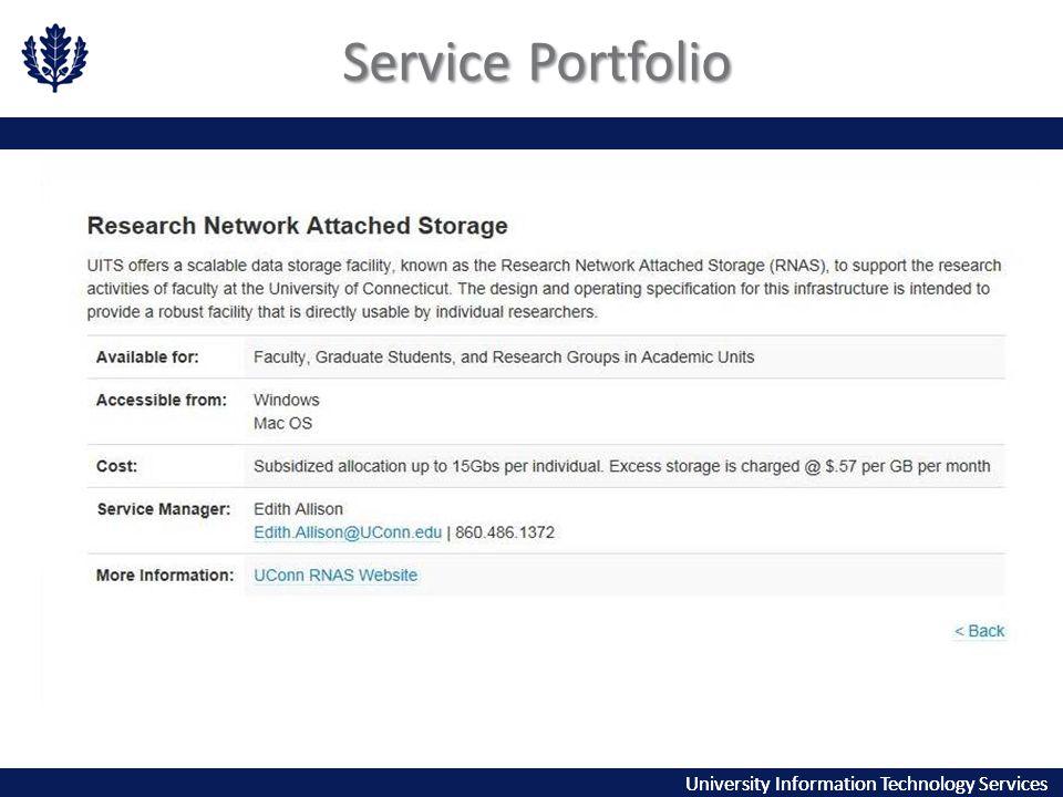 University Information Technology Services Service Portfolio