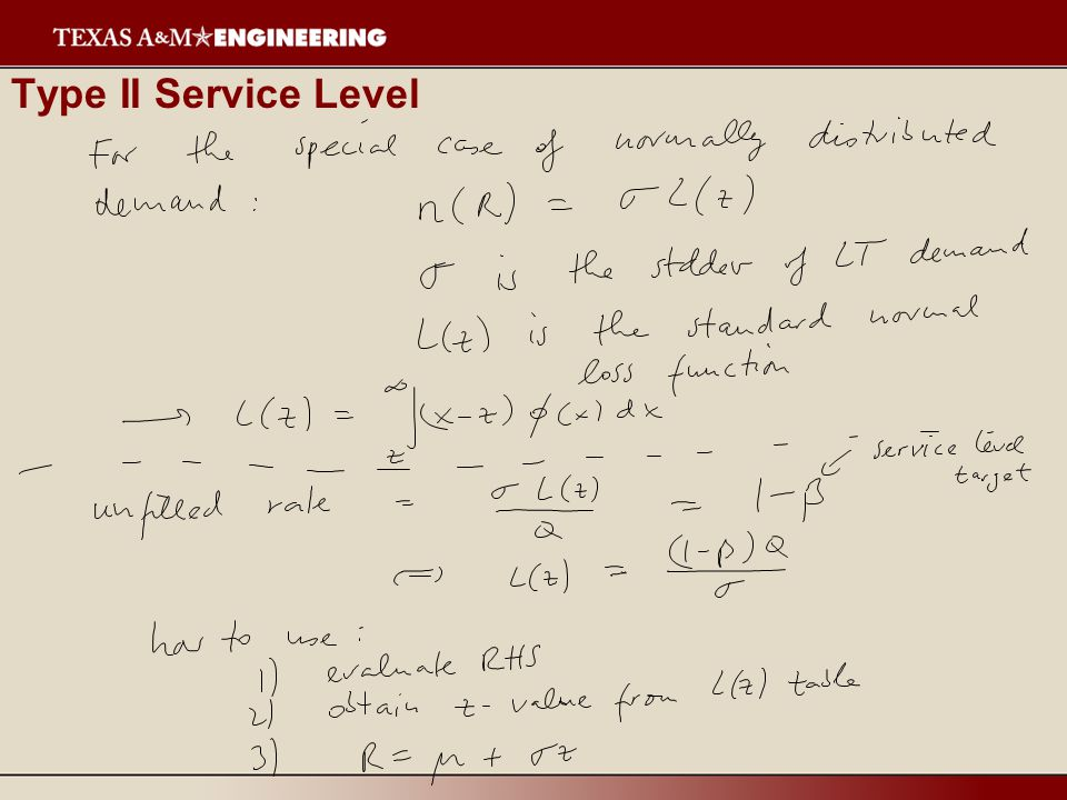 Type II Service Level