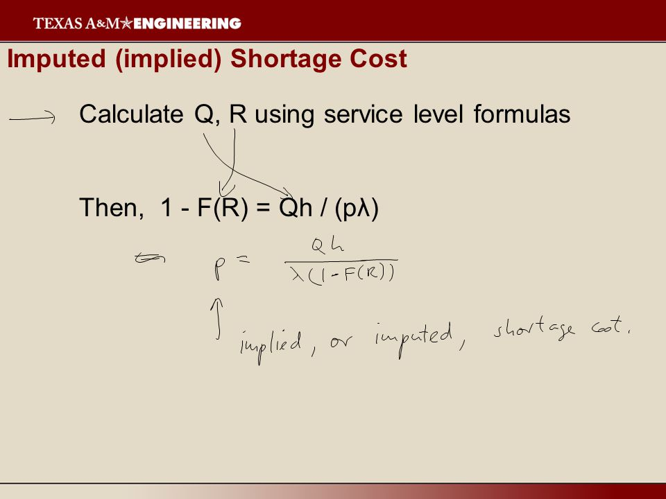 Imputed (implied) Shortage Cost Calculate Q, R using service level formulas Then, 1 - F(R) = Qh / (pλ)