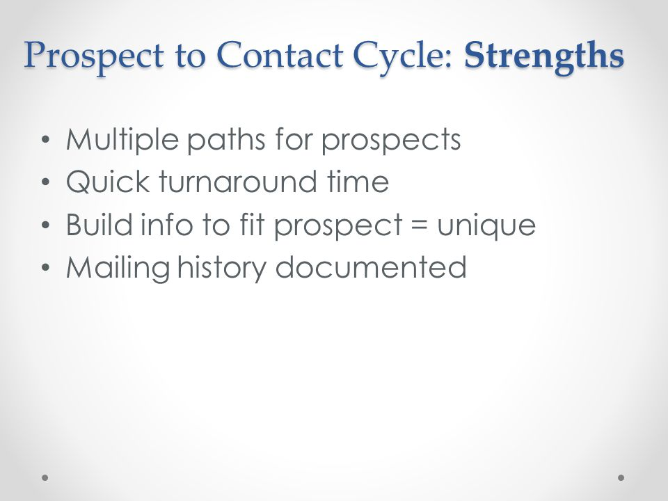 Prospect to Contact Cycle: Strengths Multiple paths for prospects Quick turnaround time Build info to fit prospect = unique Mailing history documented