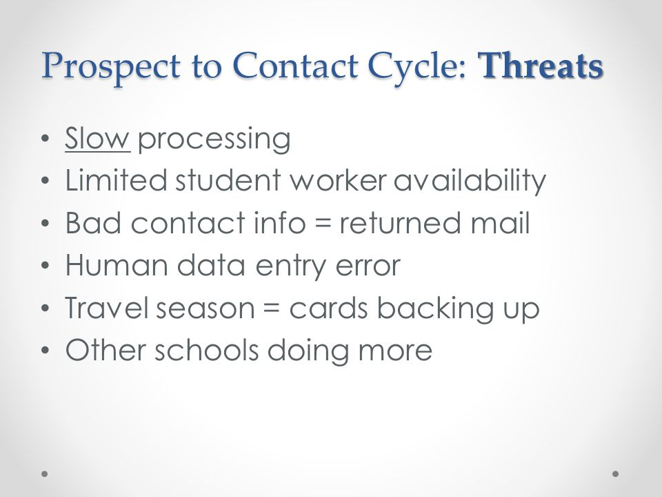 Prospect to Contact Cycle: Threats Slow processing Limited student worker availability Bad contact info = returned mail Human data entry error Travel season = cards backing up Other schools doing more