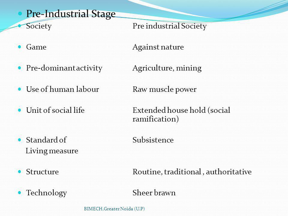 Pre-Industrial Stage Society Pre industrial Society GameAgainst nature Pre-dominant activityAgriculture, mining Use of human labourRaw muscle power Unit of social lifeExtended house hold (social ramification) Standard of Subsistence Living measure StructureRoutine, traditional, authoritative TechnologySheer brawn BIMECH,Greater Noida (U.P)