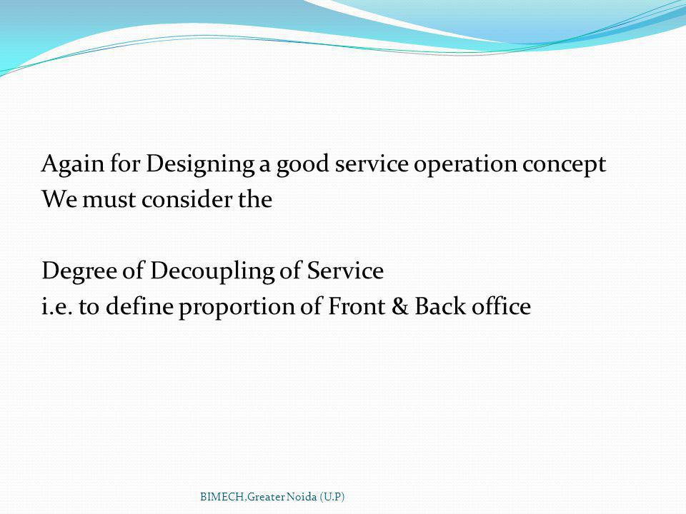 Again for Designing a good service operation concept We must consider the Degree of Decoupling of Service i.e.