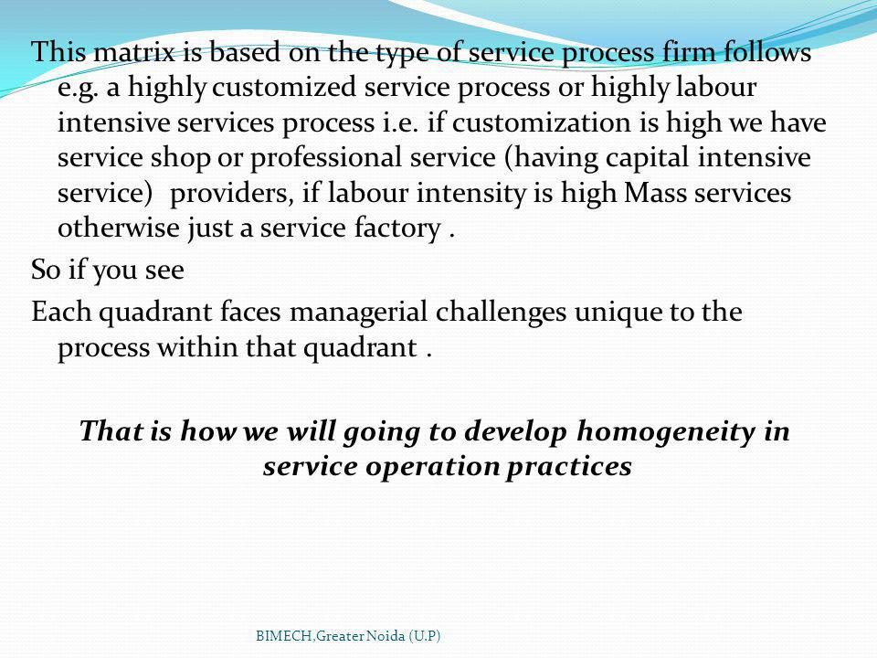 This matrix is based on the type of service process firm follows e.g.