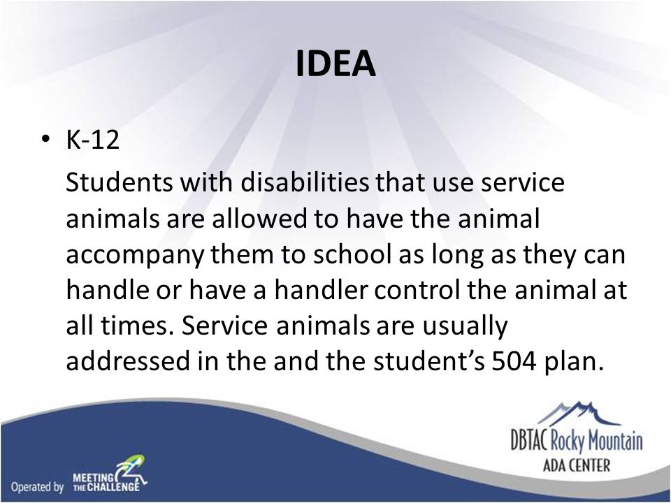 IDEA K-12 Students with disabilities that use service animals are allowed to have the animal accompany them to school as long as they can handle or have a handler control the animal at all times.