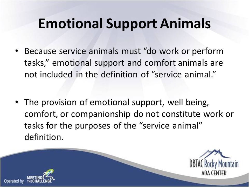 Emotional Support Animals Because service animals must do work or perform tasks, emotional support and comfort animals are not included in the definition of service animal.