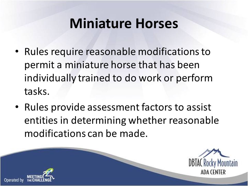 Miniature Horses Rules require reasonable modifications to permit a miniature horse that has been individually trained to do work or perform tasks.