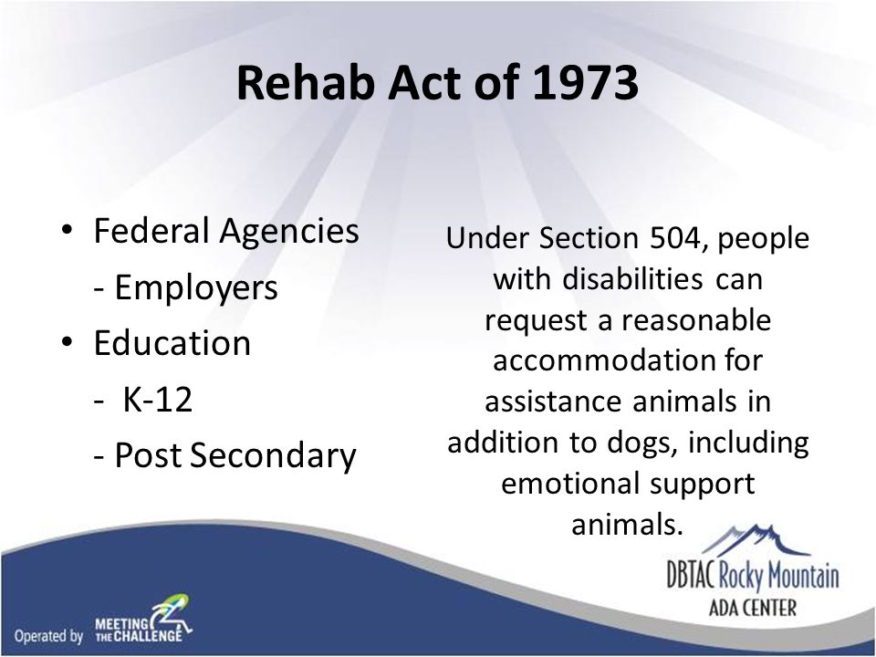 ADA Title II & III Prohibits discrimination on the basis of disability by public entities and places of public accommodation Entities must modify programs or policies that exclude service animals