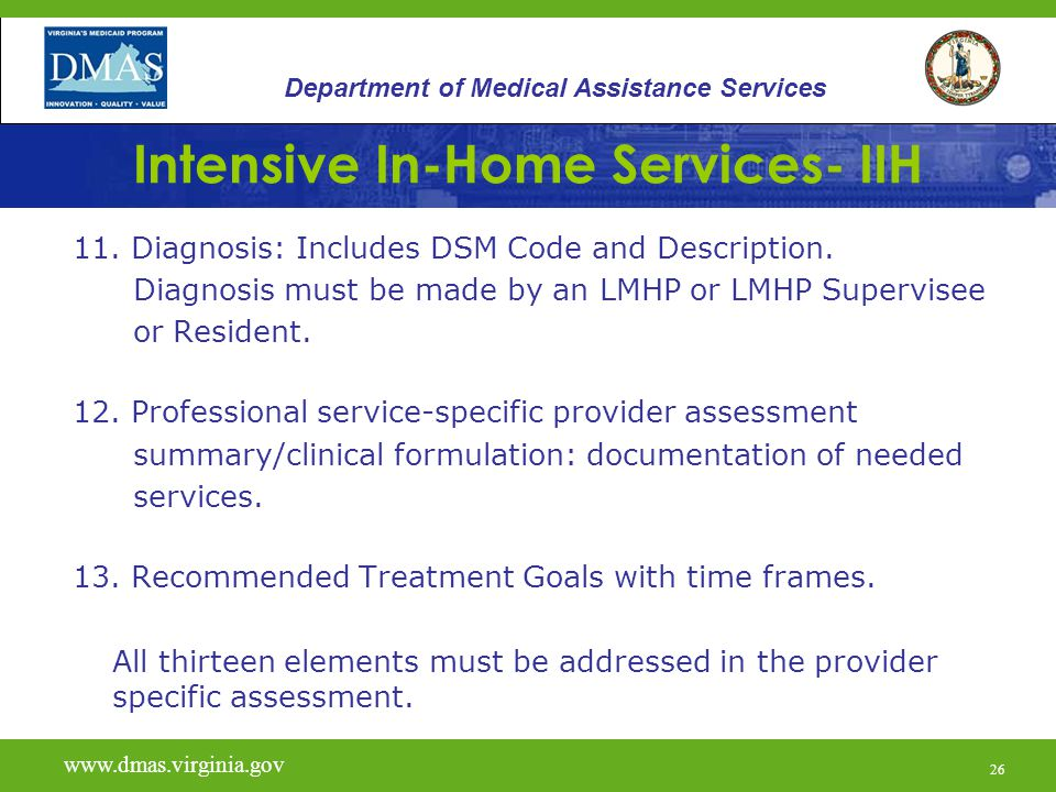26 Intensive In-Home Services- IIH 11. Diagnosis: Includes DSM Code and Description.