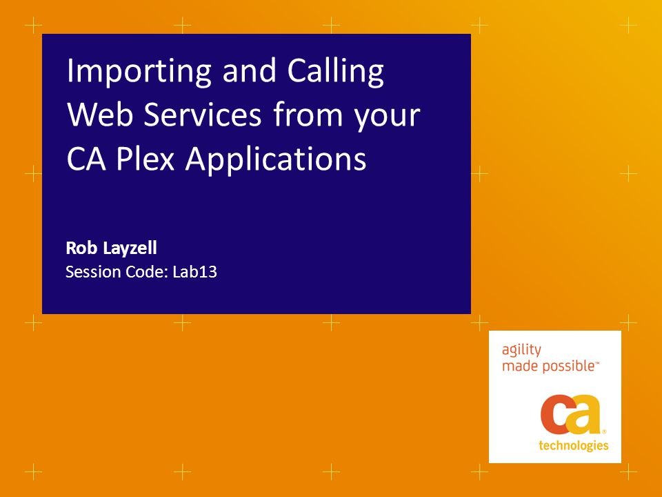 Importing and Calling Web Services from your CA Plex Applications Session Code: Lab13 Rob Layzell