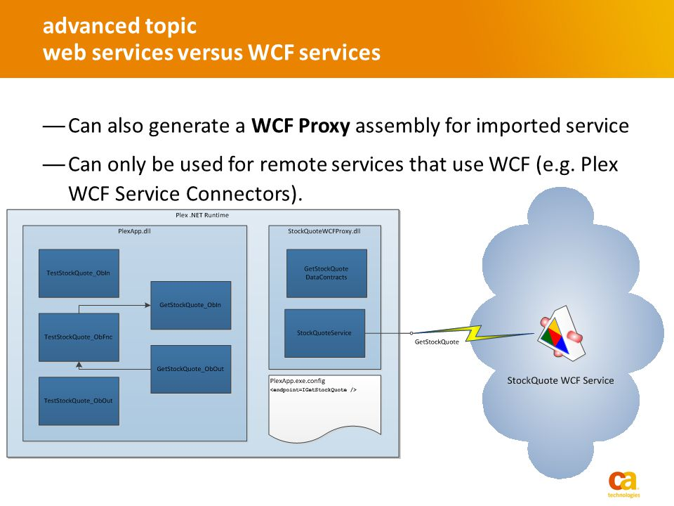 Can also generate a WCF Proxy assembly for imported service Can only be used for remote services that use WCF (e.g.