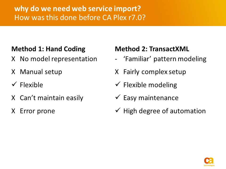 why do we need web service import? How was this done before CA Plex r7.0? Method 1: Hand Coding XNo model representation XManual setup Flexible XCant