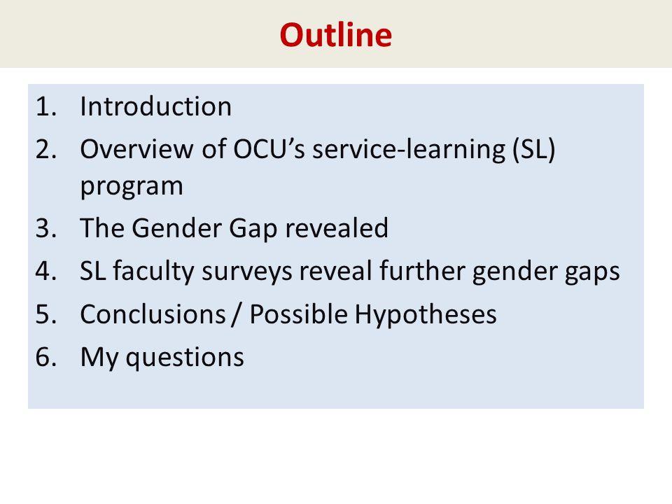 Outline 1.Introduction 2.Overview of OCUs service-learning (SL) program 3.The Gender Gap revealed 4.SL faculty surveys reveal further gender gaps 5.Co