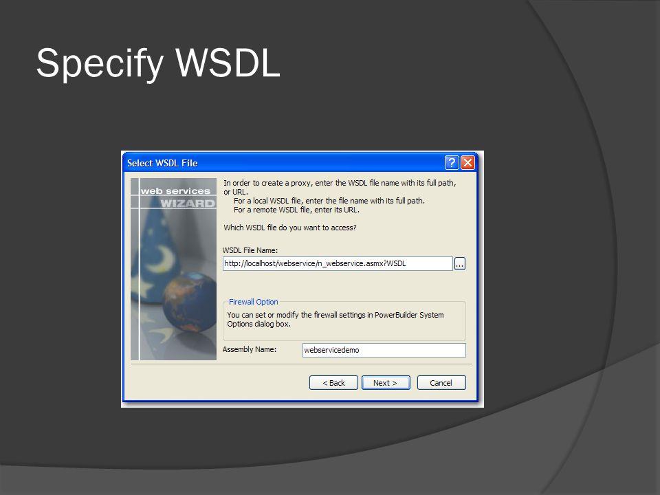 Specify WSDL