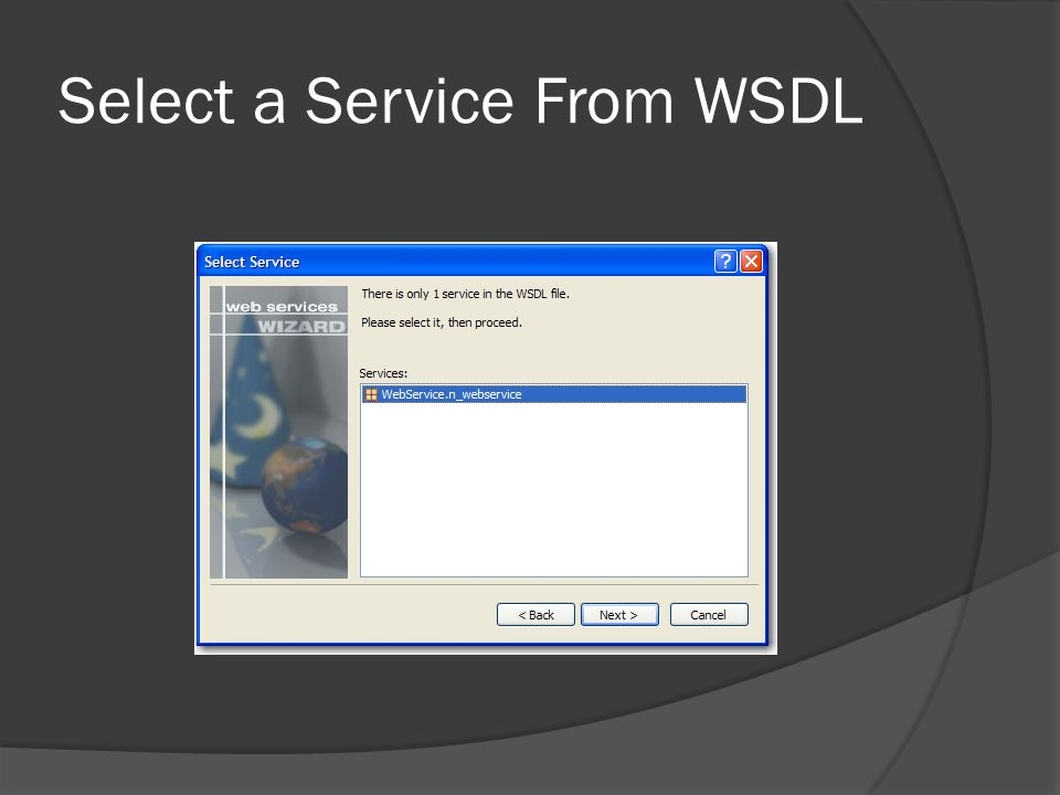 Select a Service From WSDL
