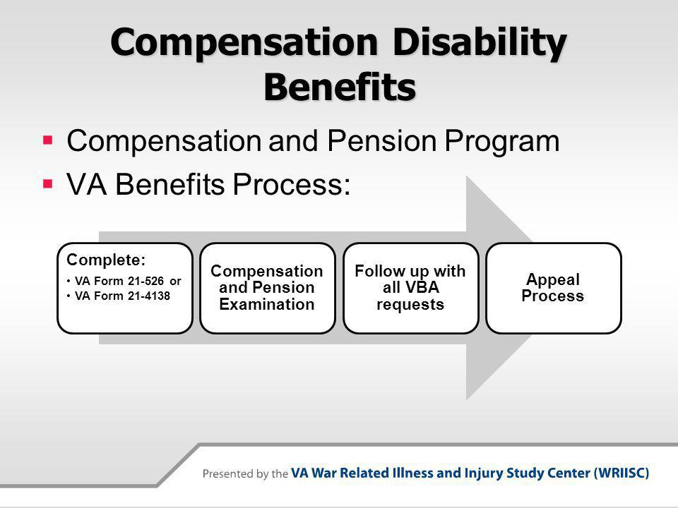 Compensation Disability Benefits Compensation and Pension Program VA Benefits Process: Complete: VA Form 21-526 or VA Form 21-4138 Compensation and Pension Examination Follow up with all VBA requests Appeal Process