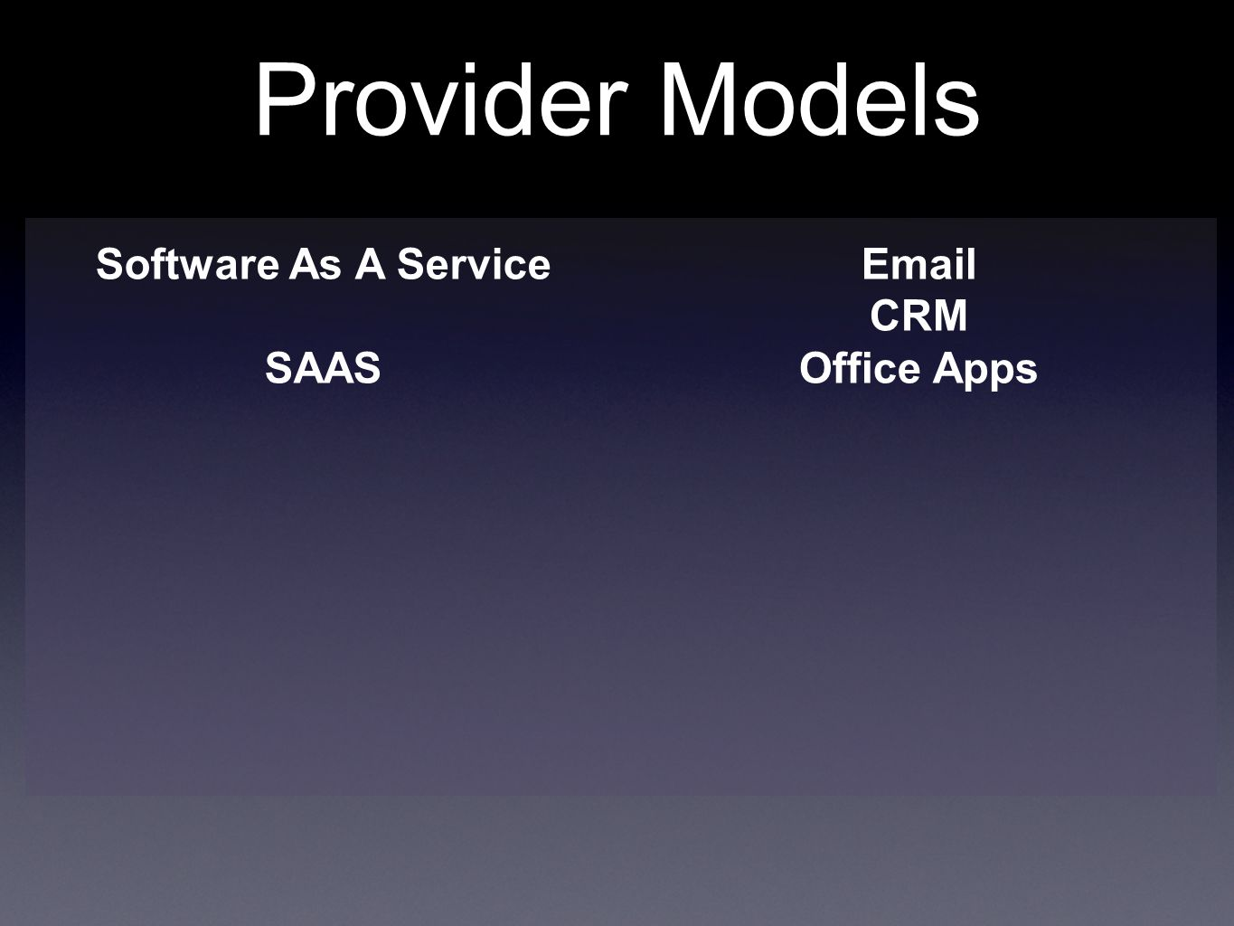 Provider Models Software As A Service SAAS  CRM Office Apps