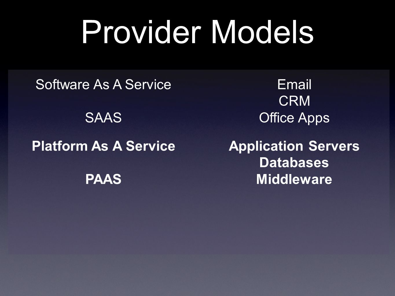 Provider Models Software As A Service SAAS  CRM Office Apps Platform As A Service PAAS Application Servers Databases Middleware