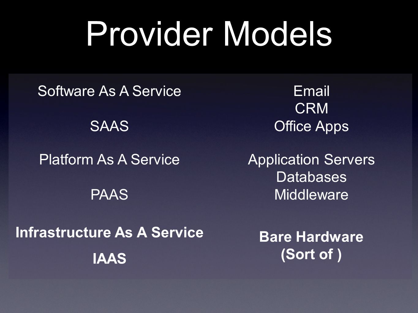 Provider Models Software As A Service SAAS  CRM Office Apps Platform As A Service PAAS Application Servers Databases Middleware Infrastructure As A Service IAAS Bare Hardware (Sort of )