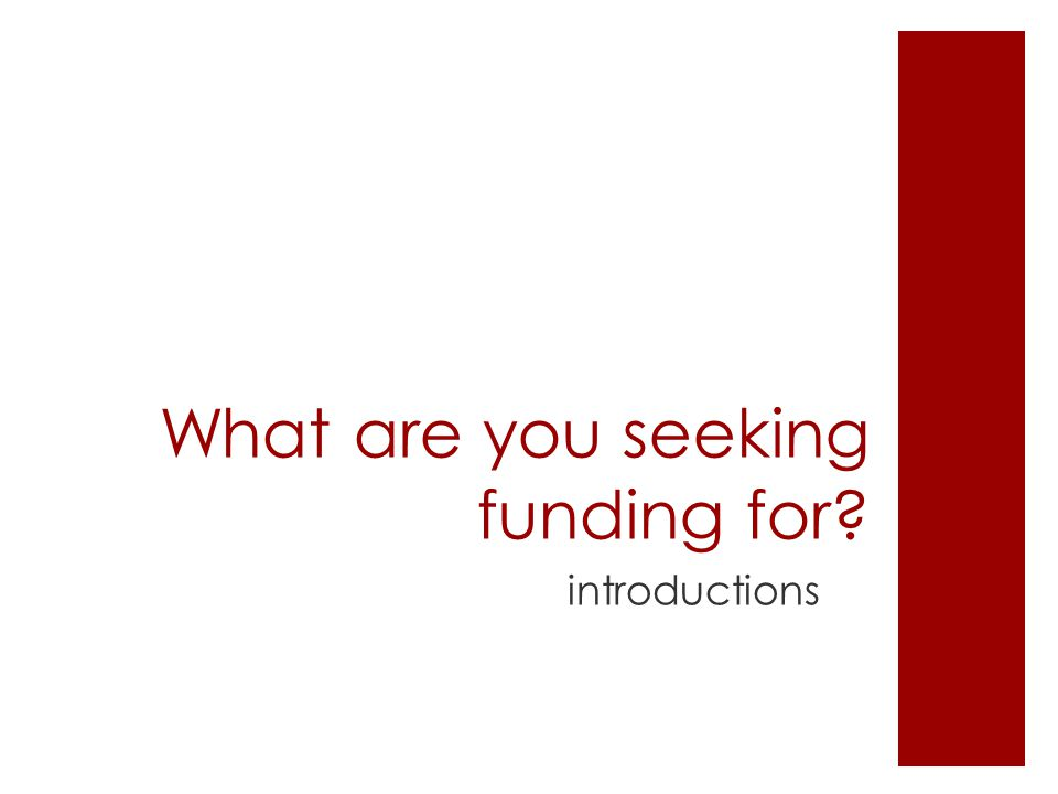 What are you seeking funding for? introductions
