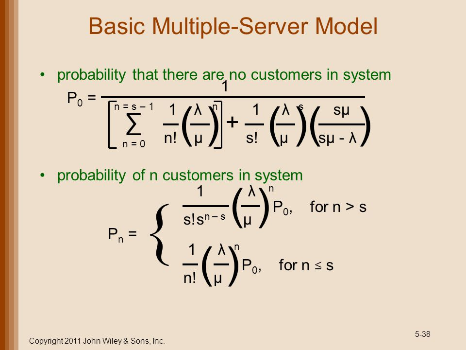 5-38 Basic Multiple-Server Model probability that there are no customers in system probability of n customers in system Copyright 2011 John Wiley & So